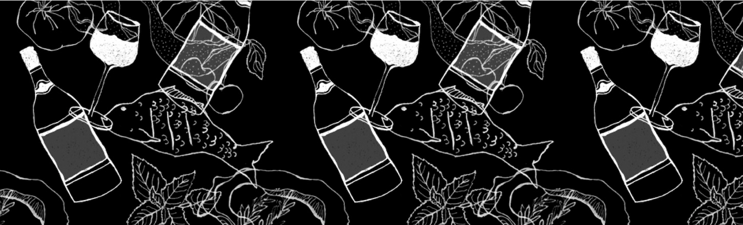 Line drawn pattern of wine glasses, fish and other culinary objects.